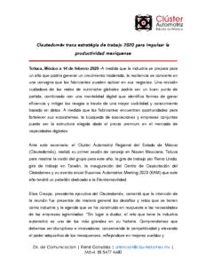 Clautedoméx traza estratégia de trabajo 2020 para impulsar la productividad mexiquense