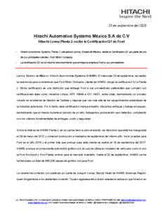 Hitachi recibe certificación FORD Q1