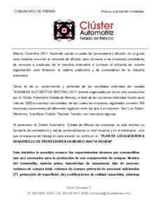 PLAN DE LOCALIZACION & DESARROLLO DE PROVEEDORES EN MEXICO NAFTA REGION
